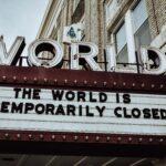 cinema doors shut down due to enforced pandemic lockdown in new york city