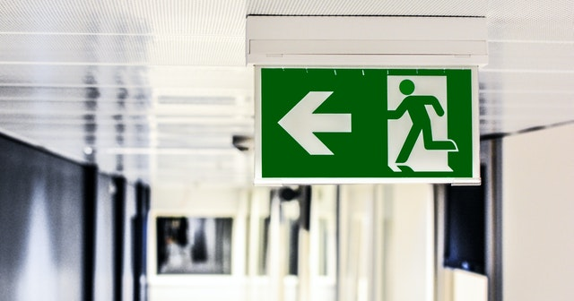 exit sign on a large hospital