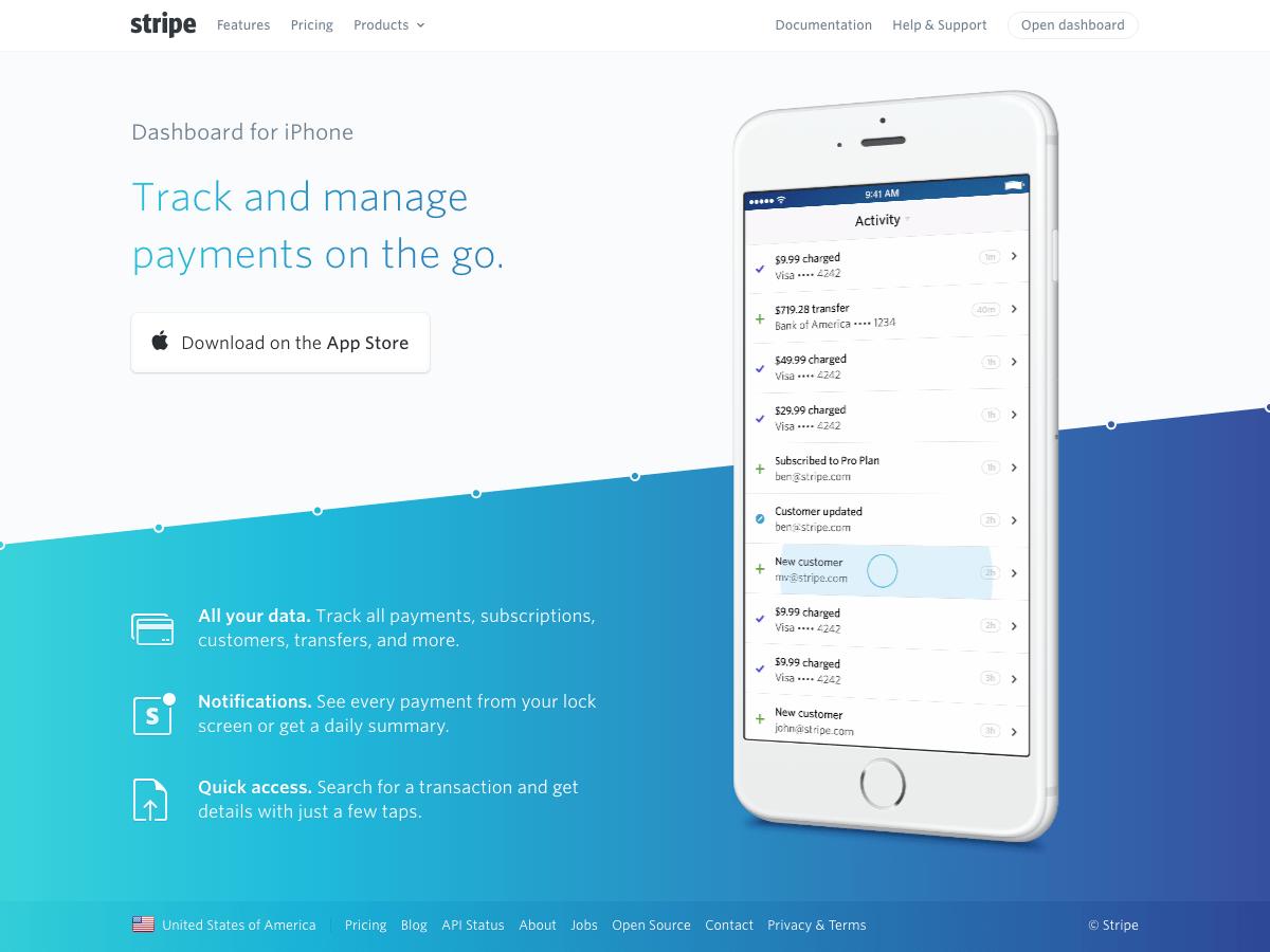 stripe dashboard ui ios iphone app