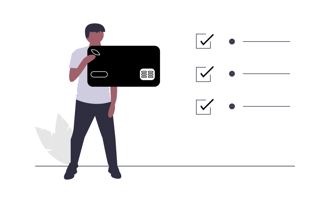 undraw animation showing man holding credit card to show payment approved on viosapp stripe