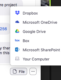 sending files with zoom chat bu dropbox link or google drive link
