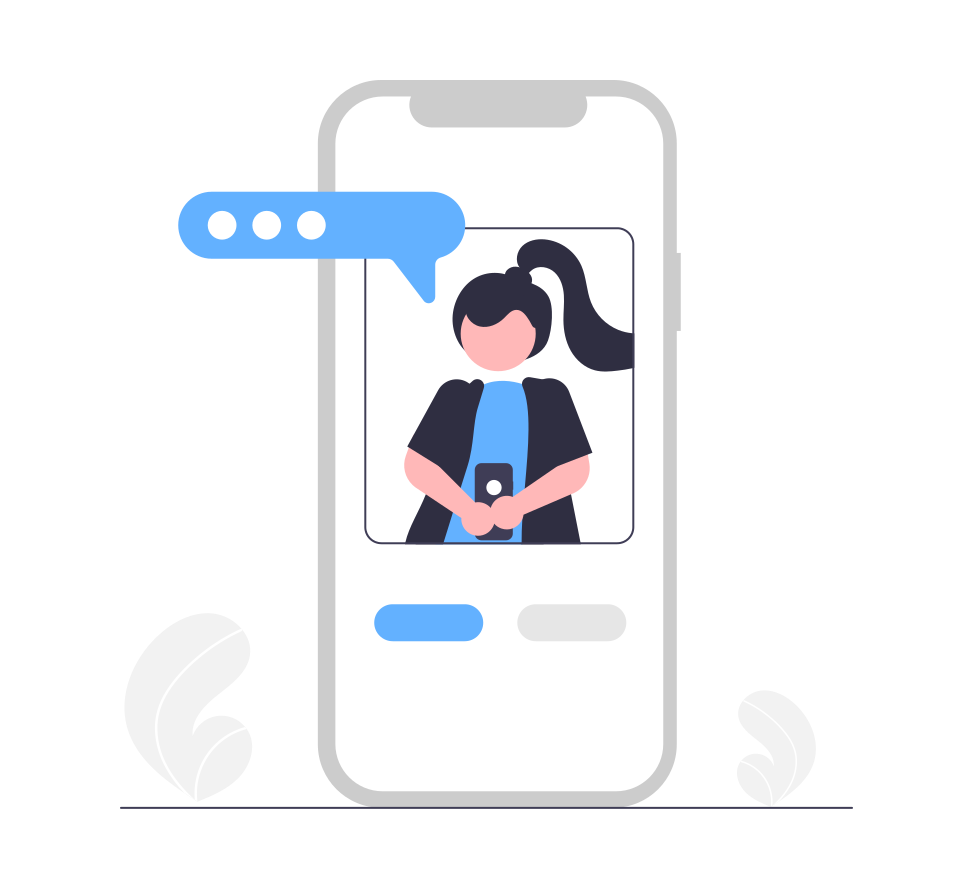 woman sending a message on mobile video chat